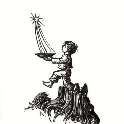 Beeldzijde nieuwjaarskaart, kind vangt het licht, 1970