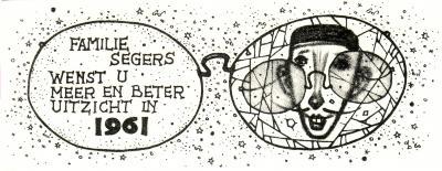 Beeldzijde nieuwjaarskaart, wensen familie Segers, 1961