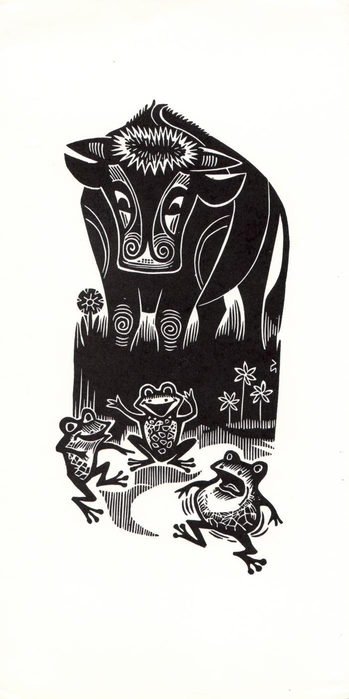 Beeldzijde nieuwjaarskaart, koe met drie kikkers, 1975