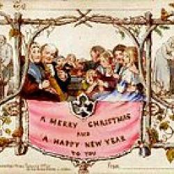 Eerste Kerst- en nieuwjaarskaart ontworpen door John Calcott Horsley, 1843