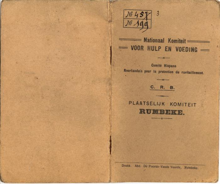 Gezinsboekje van het Nationaal Komiteit voor Hulp en Voeding, Rumbeke