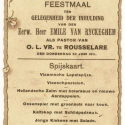 Spijskaart voor het feestmaal bij inhuldiging pastoor Emile Van Ryckeghem