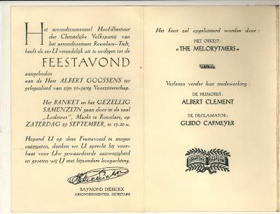 Uitnodiging tot de feestavond van de christelijke volkspartij met bijhorende spijskaart
