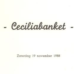 """Menukaarten voor de St Ceciliafeesten van de Harmonie """"Door strijd naar kunst"""" doorheen de jaren 1971-1995"""
