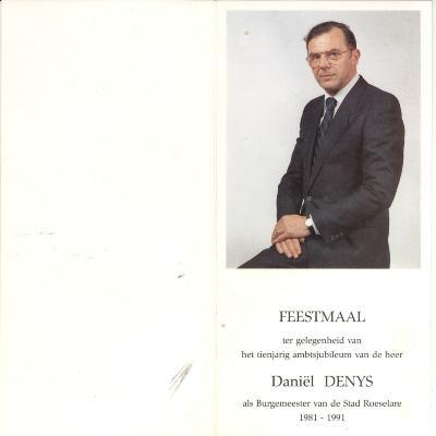 Feestmaal bij 10 jarig ambtsjubileum van burgemeester Daniël Denys
