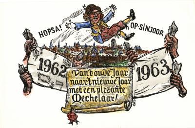 Beeldzijde nieuwjaarskaart, opsinjoor, 1963