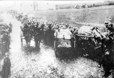 Duitse soldaten trekken naar het front