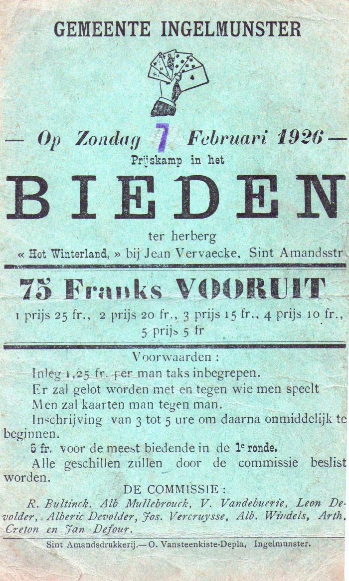Affiche voor kaarting (bieden), Ingelmunster, 1926