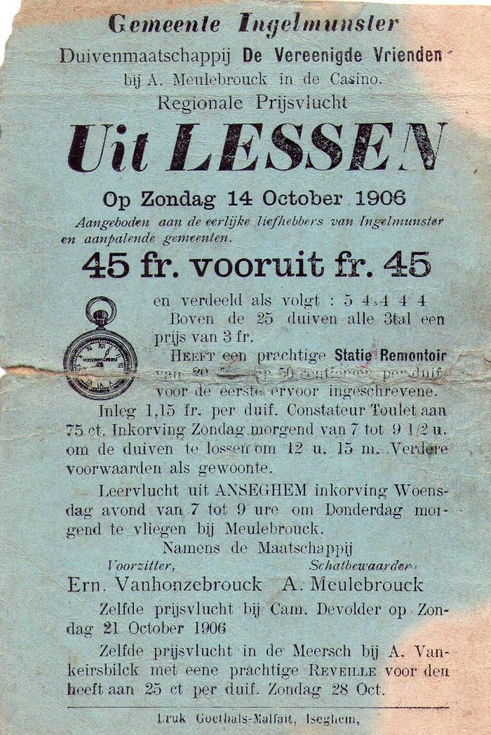 Affiche voor duivenvlucht uit Lessen, Ingelmunster, 1906