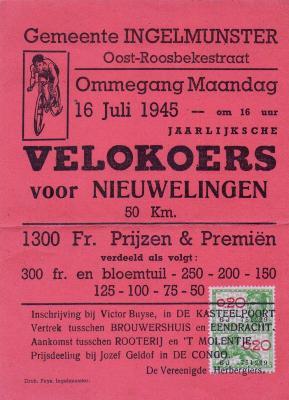 Affiche voor wielerwedstrijd, Ingelmunster, 1945