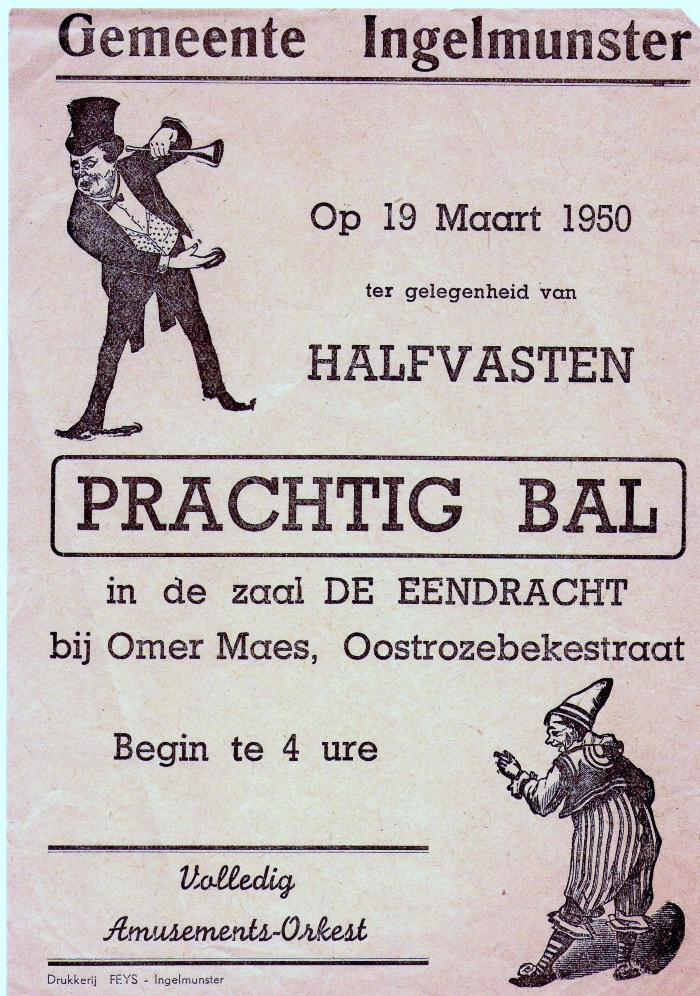 Affiche voor bal, Ingelmunster, 1950