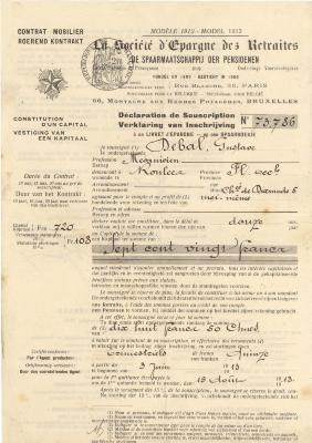 Contract spaarboekje Gustaf Debal,1913