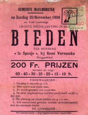 Affiche voor kaarting (bieden), Ingelmunster, 1938