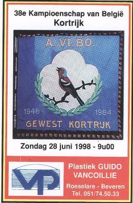 Sticker van Algemene Vinkeniersbond A.Vi.Bo ter gelegenheid van het 38e kampioenschap van België in Kortrijk