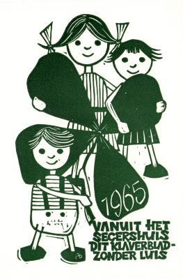 Beeldzijde nieuwjaarskaart, klaverblad zonder luis, 1965