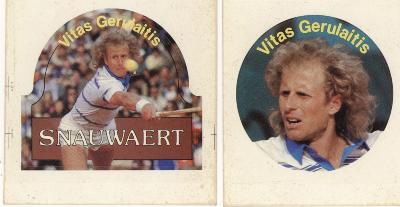 Promotiesticker tennisraketten  Snauwaert met boegbeeld Vitas Gerulaitis