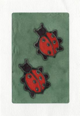 Beeldzijde kerst- en nieuwjaarskaart, twee lieveheersbeestjes