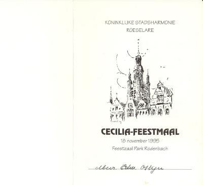 Koninklijke stadsharmonie Roeselare Cecilia, feestmaal 1995