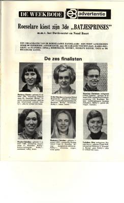 Batjesprinsesverkiezing, Roeselare, 1974