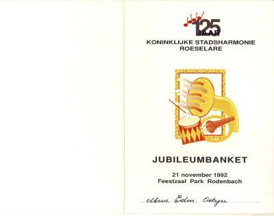 125 jaar Koninklijke stadsharmonie Roeselare, jubileumbanket 1992