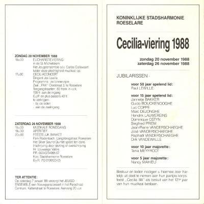 Koninklijke stadsharmonie Roeselare, Ceciliaviering 1988