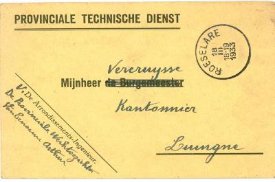 Briefkaart Provinciale Technische Dienst, 1933