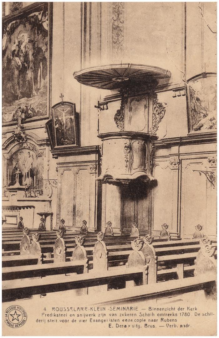 Binnenzicht van de St Augustinuskerk Klein Seminarie, Roeselare