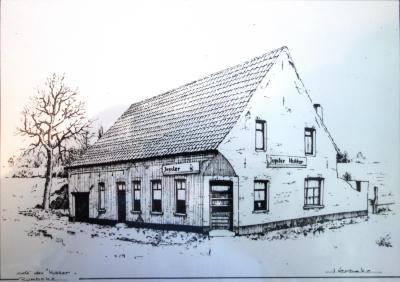 Tekening van Brasserie Den Hukker, Rumbeke Roeselare