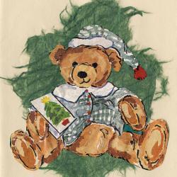 Beeldzijde kerst- en nieuwjaarskaart, tekening beer