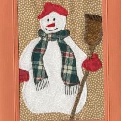 Beeldzijde kerst- en nieuwjaarskaart, sneeuwpop in patchwork