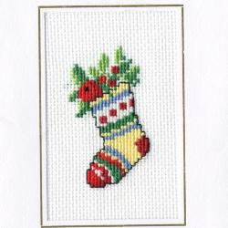 Beeldzijde kerst- en nieuwjaarskaart, sok in kruisjessteek