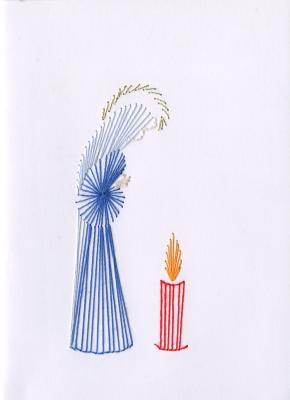 Beeldzijde kerst- en nieuwjaarskaart, biddende figuur bij kaars