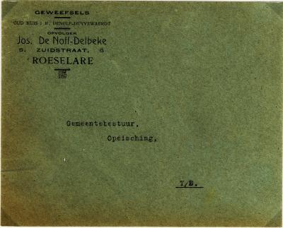 Hoofding briefomslag Jos De Nolf - Delbeke