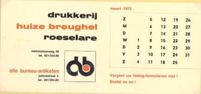 Promotiemateriaal drukkerij huize Breughel, Roeselare