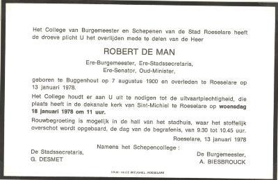 Overlijdensbericht Robert De Man, Roeselare, 1978