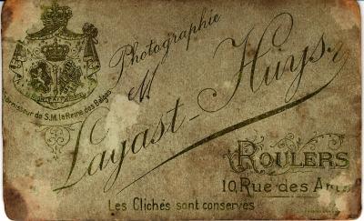 Naamkaartje van Fotografie Lagast Huys, Roeselare