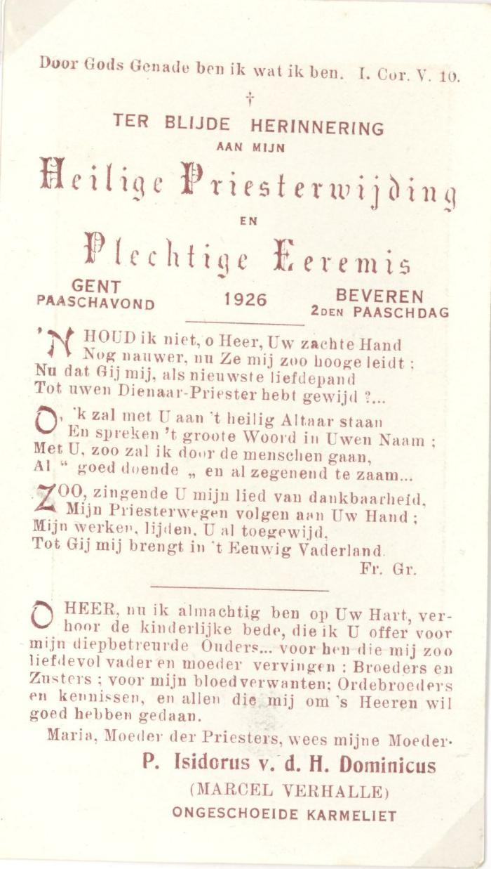 Prentje Eremis pater Isidoor, 1926