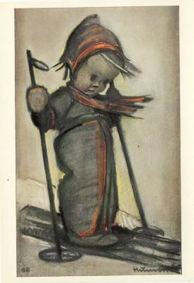 Beeldzijde nieuwjaarskaart, Hummeltje op skilatten