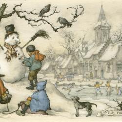 Beeldzijde nieuwjaarskaart, winterpret, Anton Pieck, 1980