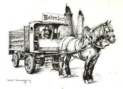 Pentekening Rodenbach door paardenkracht thuisgebracht, Roeselare