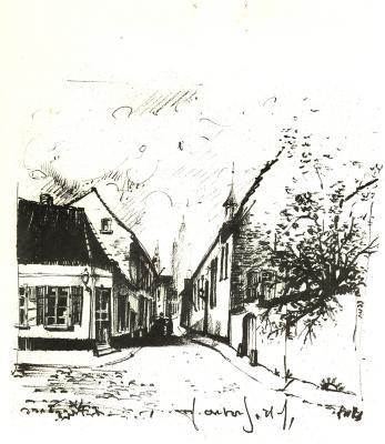 Pentekening het Nonnenstraatje gezien vanaf het Polenplein, Roeselare, jaren 1950-60
