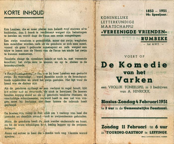 Programma toneelvoorstelling, Rumbeke, 4 februari 1951