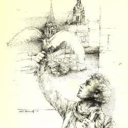 Pentekening van Albrecht Rodenbach - standbeeld van bekende Vlaamse dichter, Roeselare, 1856-80,