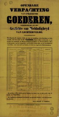 Affiche Openbare verpachting van onroerende goederen, Lichtervelde, 25 augustus 1846
