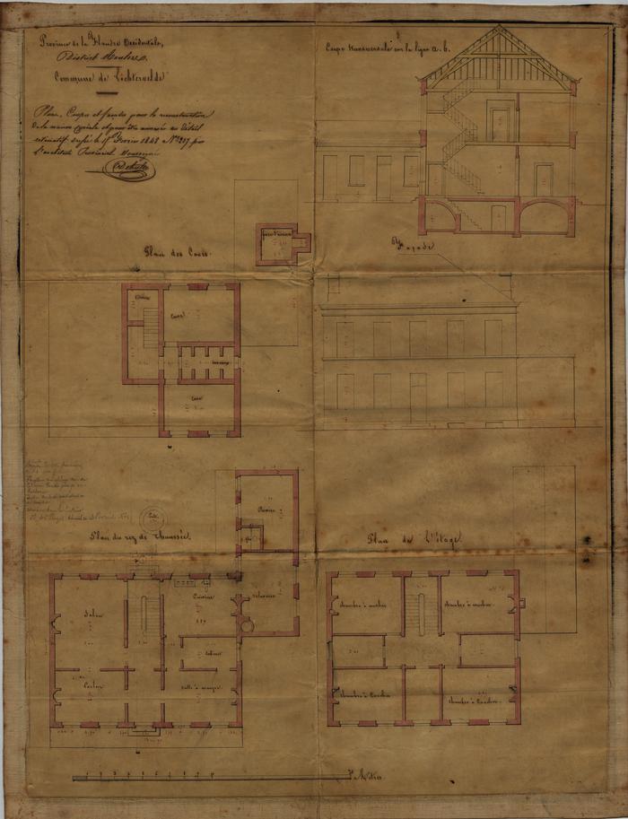 Plane, coupes et facades pour la reconstuction de la maison juriale, Lichtervelde, 19 februari 1848