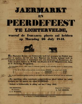 Affiche Jaarmarkt en paardenfeest, Lichtervelde, 7 juni 1841
