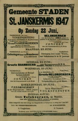 Affiche St.Janskermis, Staden, 22 juni 1947