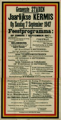 Affiche Jaarlijkse Kermis, Staden, 7 september 1947