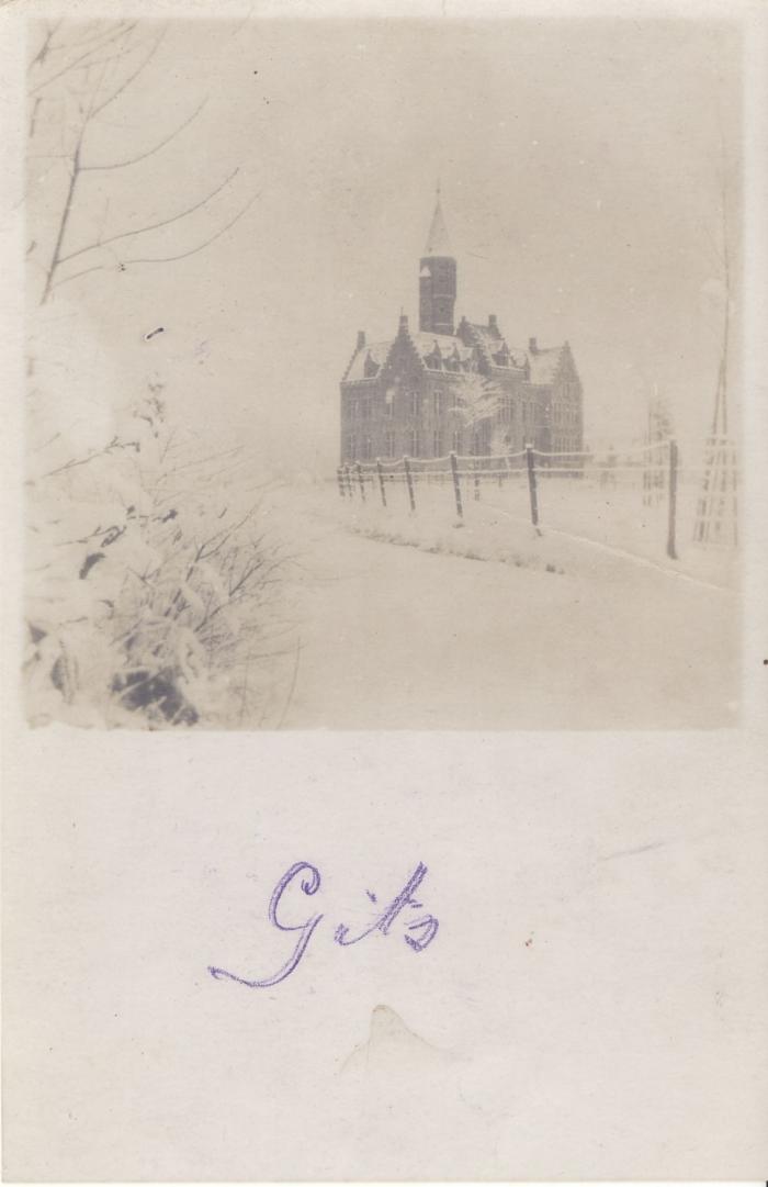 Kasteel de Pélichy, sneeuw, Gits