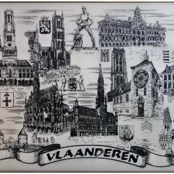 Tekening met Vlaamse waardevolle monumenten